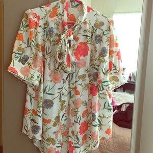 Kate Spade neck tie blouse